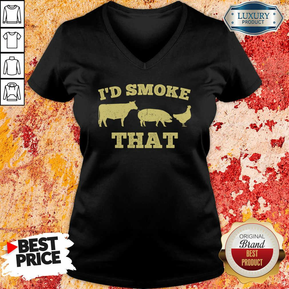 I'D Smoke That Funny Bbq Smoker Dad Barbecue Grilling V-neck-Design By Soyatees.com