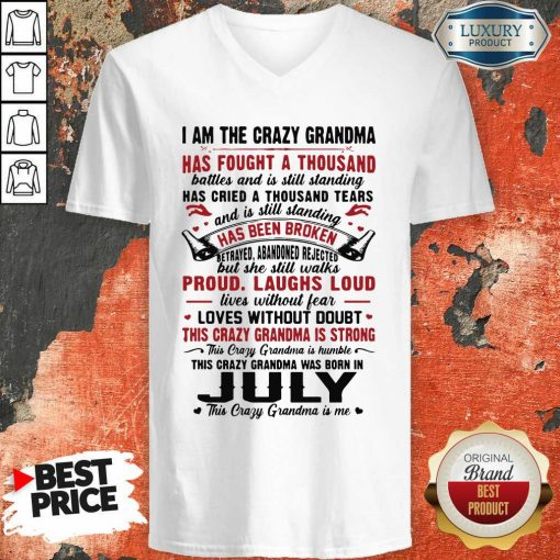 I Am The Crazy Grandma Proud Laughs Loud This Crazy Grandma Is Strong V-neck-Design By Soyatees.com