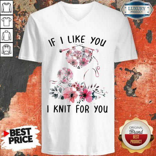 If I Like You I Knit For You V-neck-Design By Soyatees.com