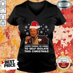 Leonardo Dicaprio Covid Thinks I'M Going To Self Isolate This Christmas V-neck-Design By Soyatees.com