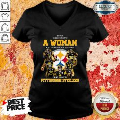 Never Underestimate A Woman Who Understands Football And Loves Pittsburgh Steelers V-neck-Design By Soyatees.com