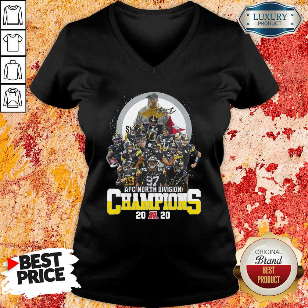 Pittsburgh Steelers Afc North Division Champions 2020 Signatures V-neck - Desisn By Soyatees.com