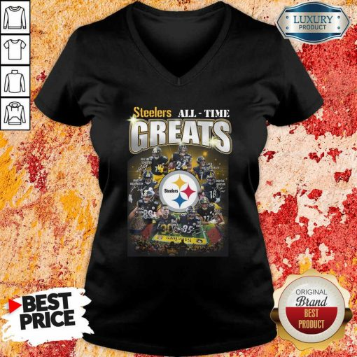 Pittsburgh Steelers Team Football All Time Greats Signatures V-neck - Desisn By Soyatees.com