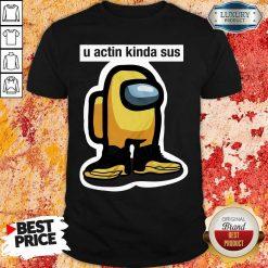 U Acting Kinda Sus Among Yellow And Black Jordan 12 Shirt-Design By Soyatees.com