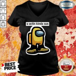 U Acting Kinda Sus Among Yellow And Black Jordan 12 V-neck-Design By Soyatees.com