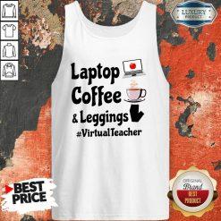 Virtual Teacher Laptop Coffee And Leggings Tank Top-Design By Soyatees.com
