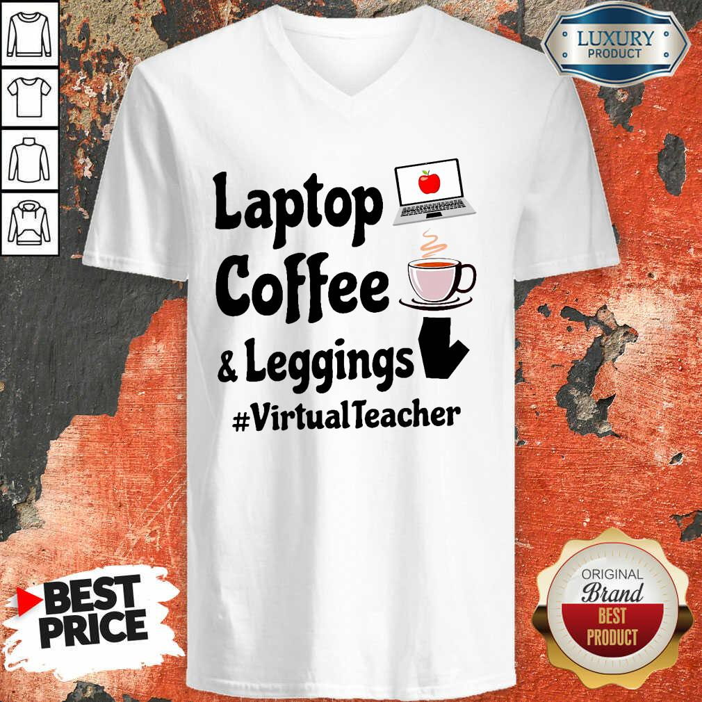 Virtual Teacher Laptop Coffee And Leggings V-neck-Design By Soyatees.com