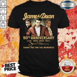 James Dean 90Th Anniversary 1931 2021 Thank You For The Memories Signature Shirt-Design By Soyatees.com