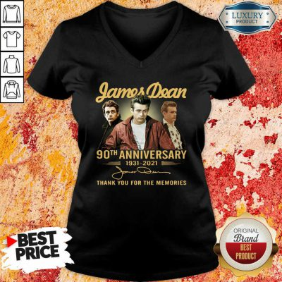 James Dean 90Th Anniversary 1931 2021 Thank You For The Memories Signature V-neck-Design By Soyatees.com