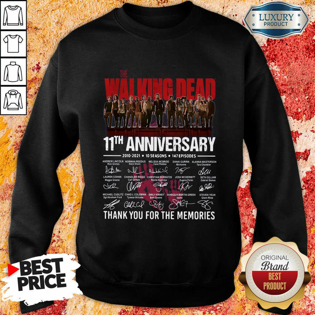 The Walking Dead 11Th Anniversary Thank You For The Memories Signatures Sweatshirt-Design By Soyatees.com