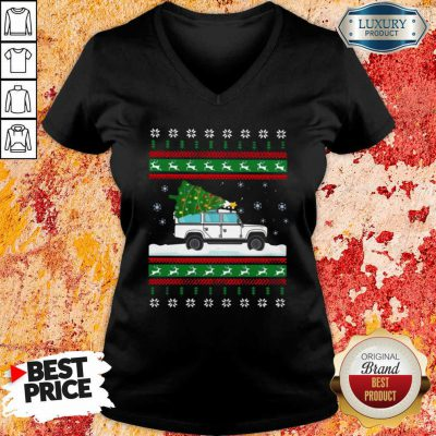 Defender Christmas Tree Ugly V-neck-Design By Soyatees.com