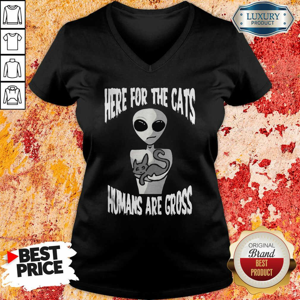 Here For The Cats Humans Are Gross V-neck-Design By Soyatees.com