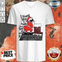 Santa Claus I Want You To Park That Big Red And Light Right On This Rooftop Christmas V-neck-Design By Soyatees.com