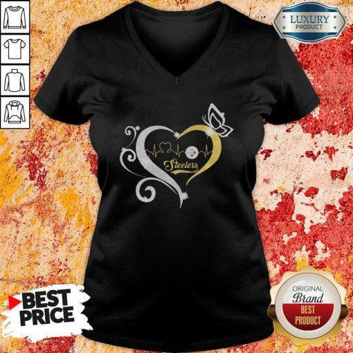 Steelers Butterflies Heart Beat V-neck-Design By Soyatees.com