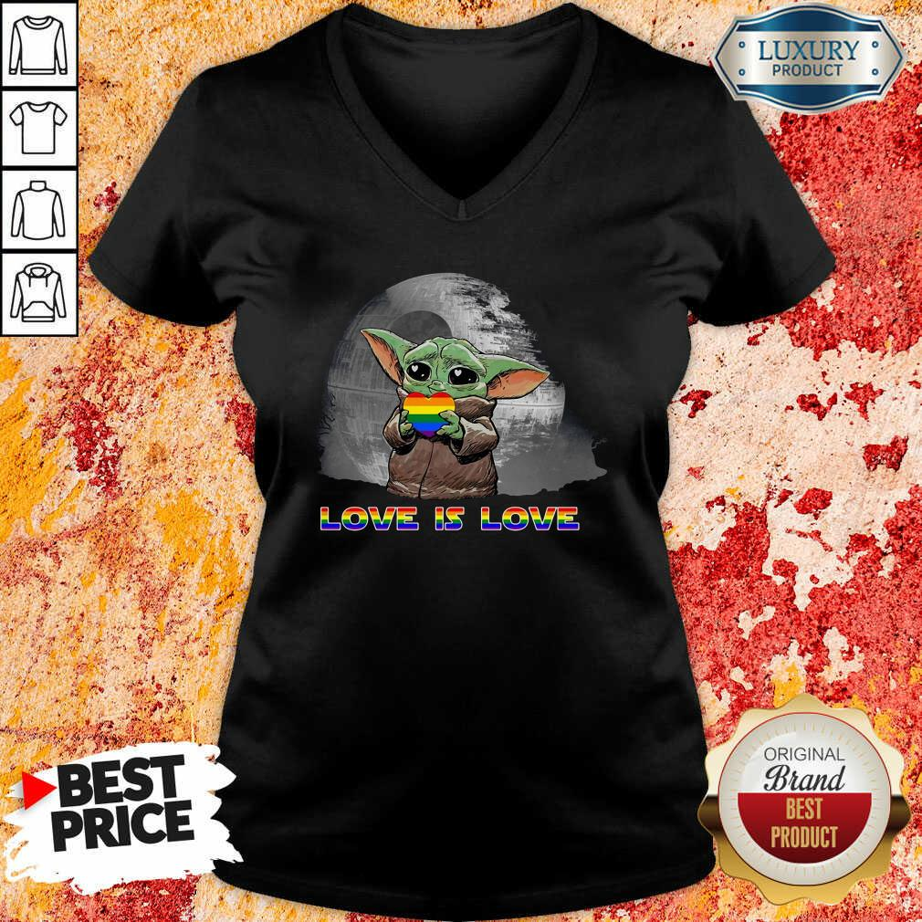 Baby Yoda Hug Autism Hear Love Is Love V-neck-Design By Soyatees.com