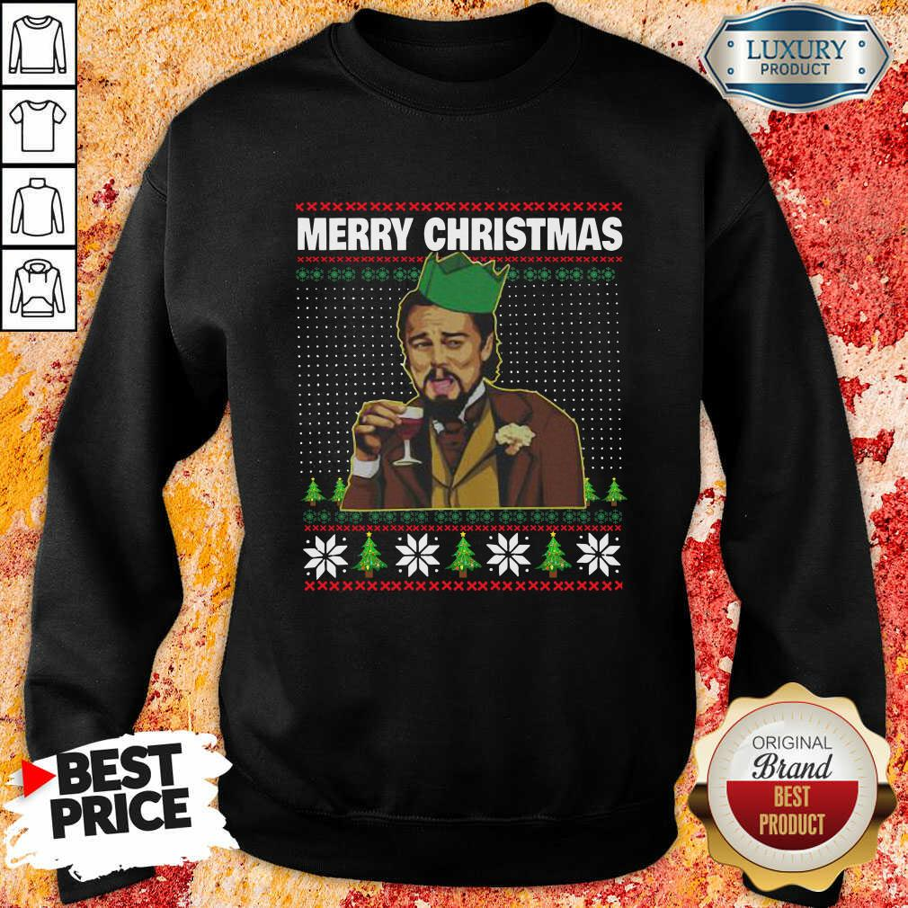 Leo Laughing Dank Meme Ugly Merry Christmas Sweatshirt-Design By Soyatees.com