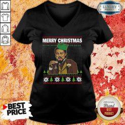 Leo Laughing Dank Meme Ugly Merry Christmas V-neck-Design By Soyatees.com