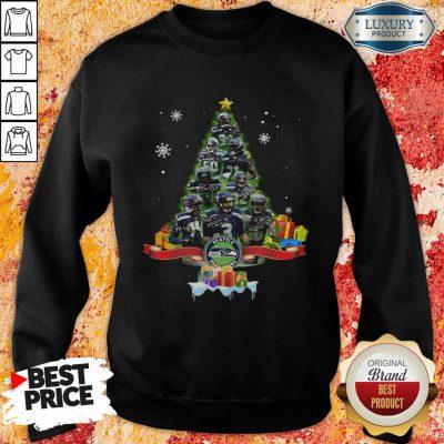 Seattle Seahawks Player Signatures Christmas Tree Sweatshirt-Design By Soyatees.com