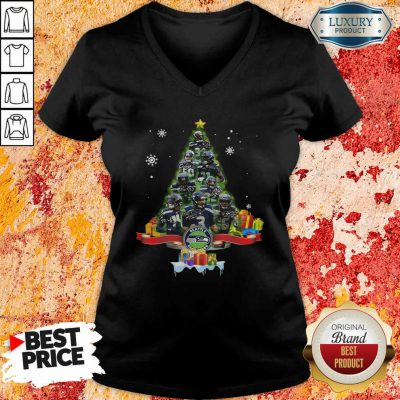 Seattle Seahawks Player Signatures Christmas Tree V-neck-Design By Soyatees.com