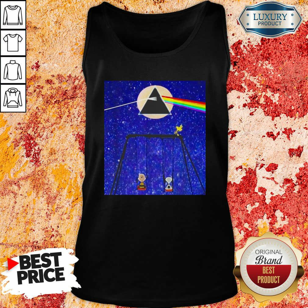Snoopy Woodstock And Friend Watching Moon Pink Floyd Tank Top-Design By Soyatees.com