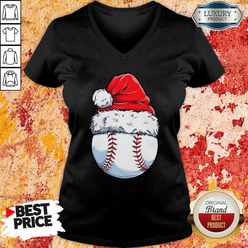 Baseball Santa Hat Christmas V-neck-Design By Soyatees.com