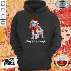 Cavalier King Gorgeous Merry Christ Mask Merry Christmas Light Hoodie-Design By Soyatees.com