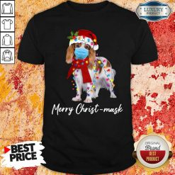 Cavalier King Gorgeous Merry Christ Mask Merry Christmas Light Shirt-Design By Soyatees.com