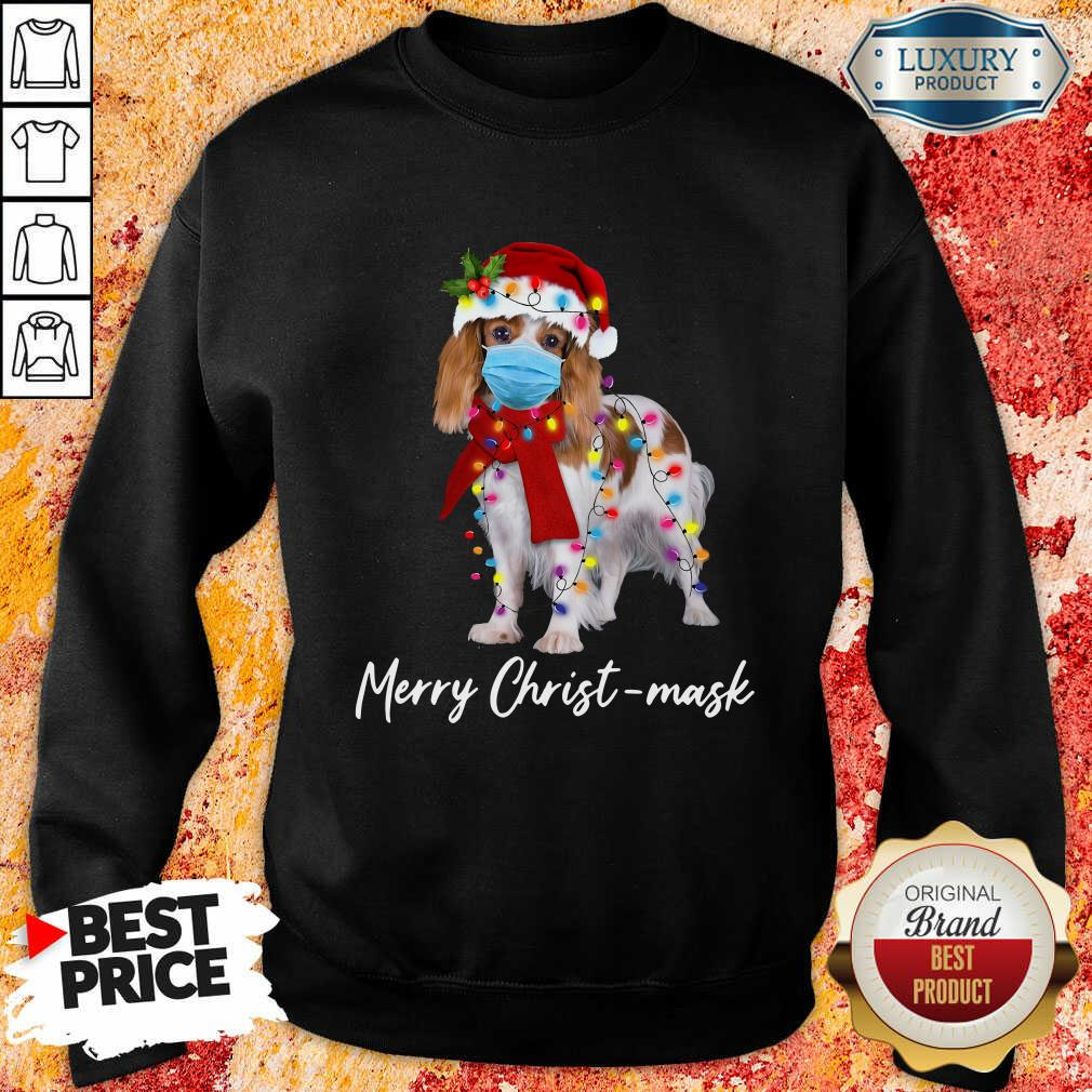 Cavalier King Gorgeous Merry Christ Mask Merry Christmas Light Sweatshirt-Design By Soyatees.com