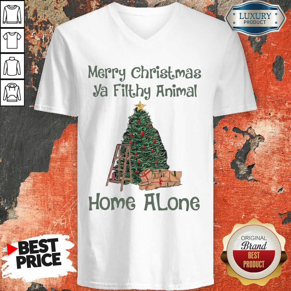 Merry Christmas Ya Filthy Animal Home Alone Christmas Tree V-neck-Design By Soyatees.com