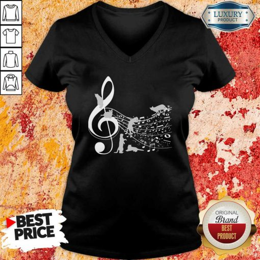 Cat And Note Music V-neck-Design By Soyatees.com