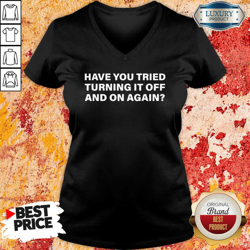 Have You Tried Turning It Off And On Again V-neck-Design By Soyatees.com