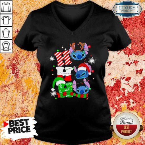 Ho Ho Ho Stitch Reindeer Elf Santa Xmas V-neck-Design By Soyatees.com