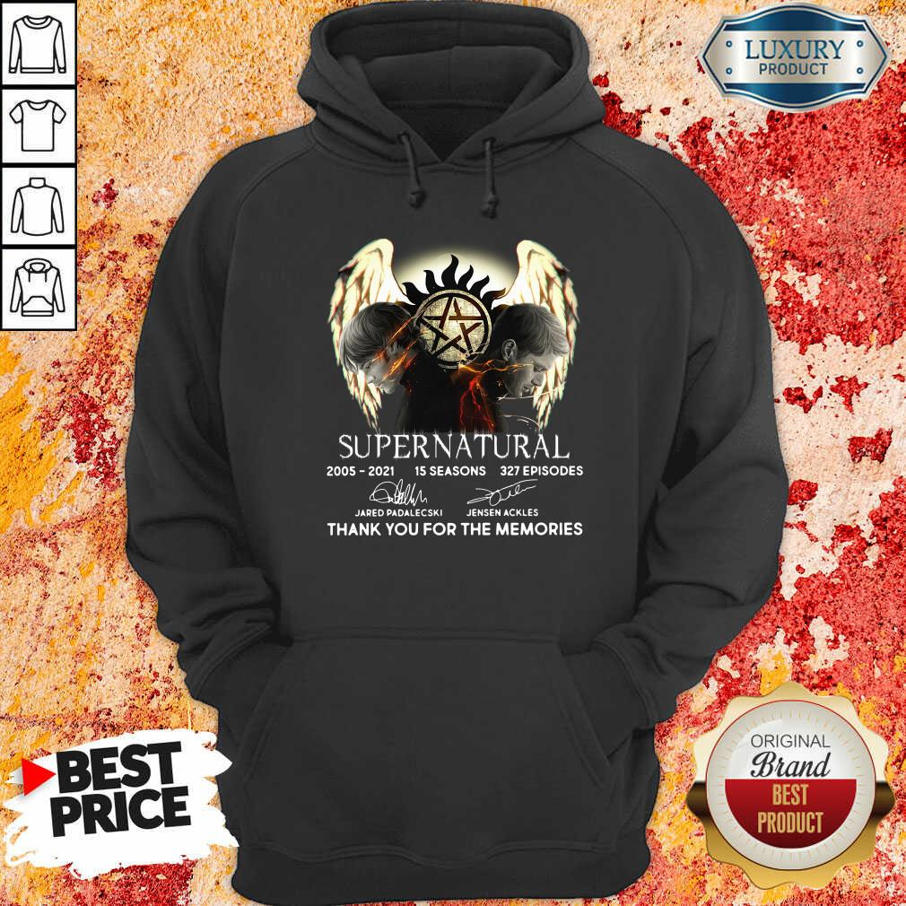 Supernatural 15 Seasons 327 Episodes Thank You For The Memories Signatures Hoodie-Design By Soyatees.com