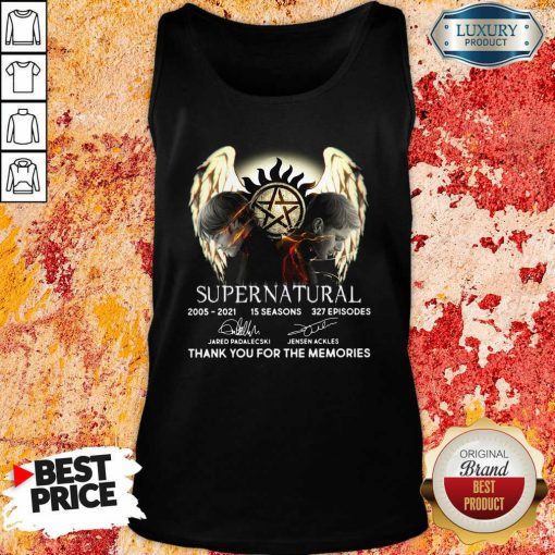 Supernatural 15 Seasons 327 Episodes Thank You For The Memories Signatures Tank Top-Design By Soyatees.com
