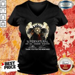 Supernatural 15 Seasons 327 Episodes Thank You For The Memories Signatures V-neck-Design By Soyatees.com