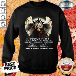 Supernatural 15 Seasons 327 Episodes Thank You For The Memories Signatures Sweatshirt-Design By Soyatees.com
