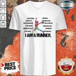 I Am Strong I Am Bold I Am Gutsy I Am Obsessed I Am A Runner V-neck-Design By Soyatees.com
