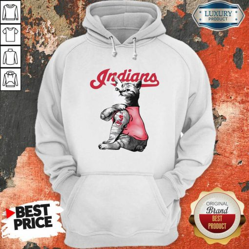 Tattoo Cat I Love Cleveland Indians Hoodie-Design By Soyatees.com