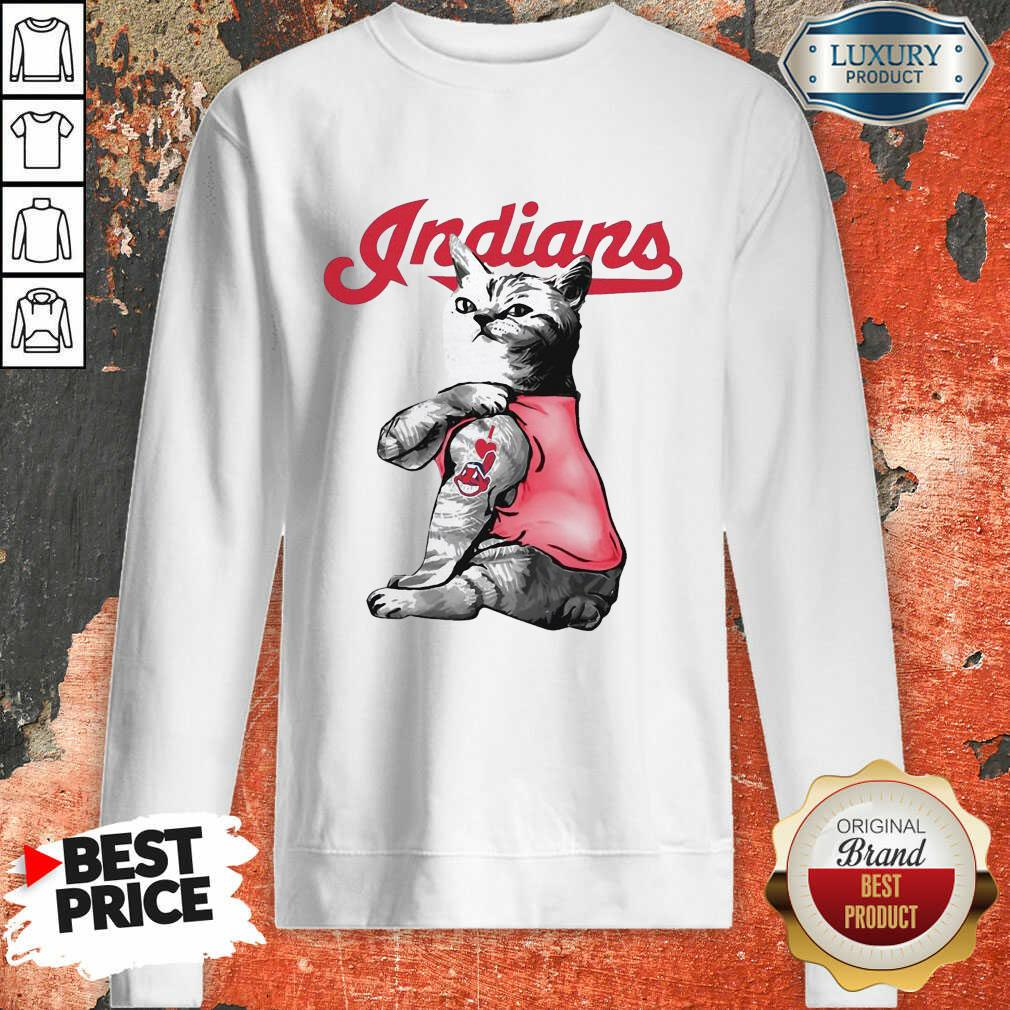 Tattoo Cat I Love Cleveland Indians Sweatshirt-Design By Soyatees.com