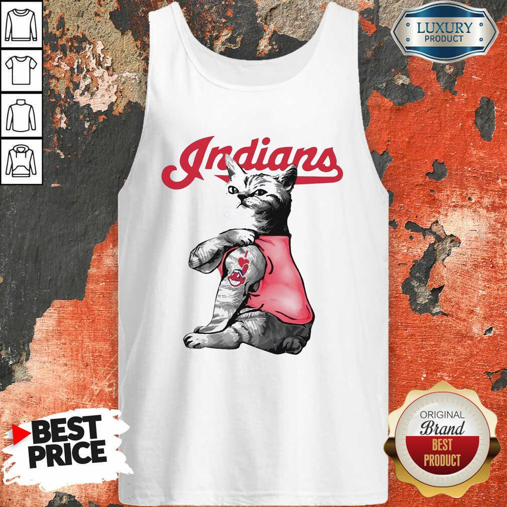 Tattoo Cat I Love Cleveland Indians Tank Top-Design By Soyatees.com