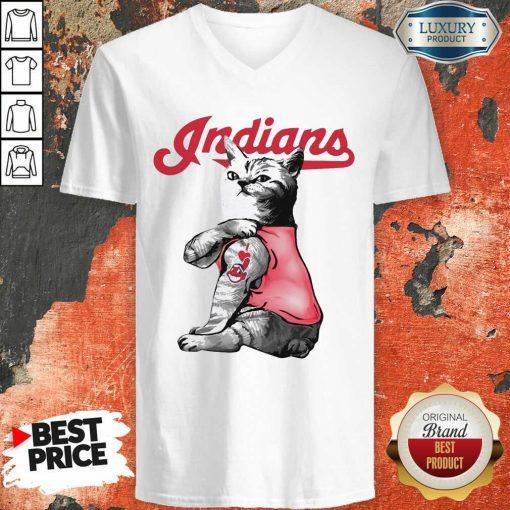 Tattoo Cat I Love Cleveland Indians V-neck-Design By Soyatees.com