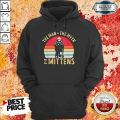 Amused Bernie Sanders Meme The Man 8 The Myth The Mittens Vintage Retro Hoodie - Design by Soyatees.com