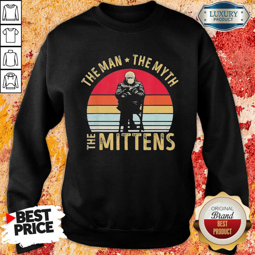 Amused Bernie Sanders Meme The Man 8 The Myth The Mittens Vintage Retro Sweatshirt - Design by Soyatees.com