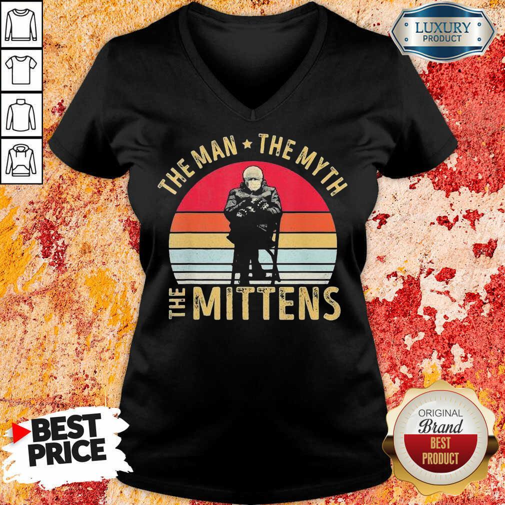 Amused Bernie Sanders Meme The Man 8 The Myth The Mittens Vintage Retro V-neck - Design by Soyatees.com