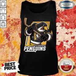 Appalled Cartoon 9 Penguin Playing Hockey Tank Top - Design by Soyatees.com