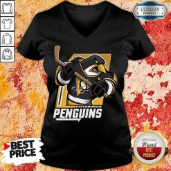 Appalled Cartoon 9 Penguin Playing Hockey V-neck - Design by Soyatees.com
