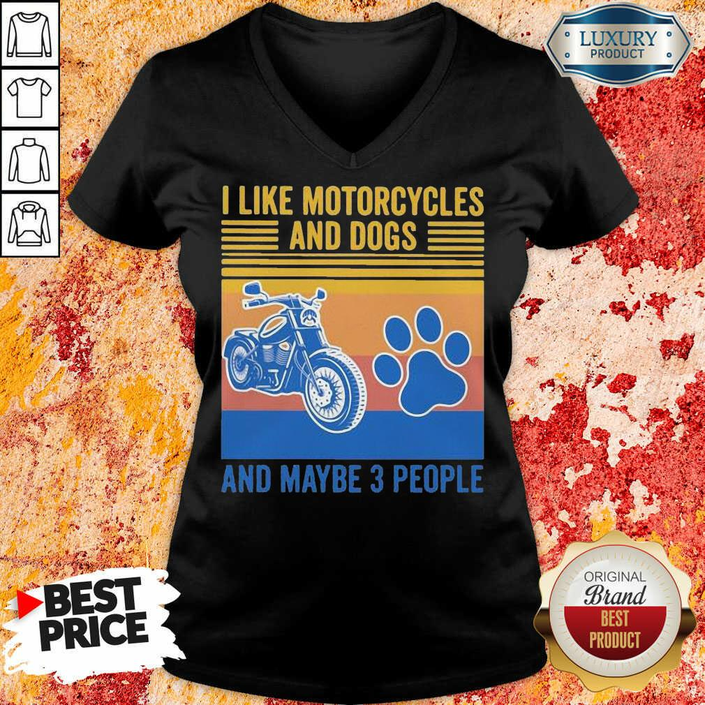 Frustrated I Like Motorcycles And Dogs And Maybe 3 People Vintage Retro V-neck - Design by Soyatees.com