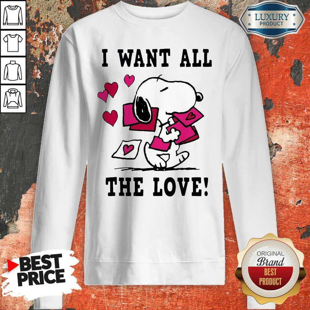 Peanuts Snoopy All The Love Valentines Sweatshirt - Desisn By Soyatees.com