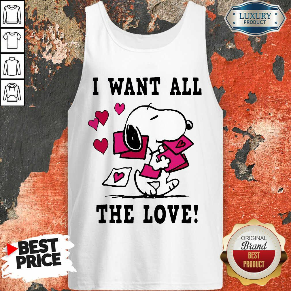 Peanuts Snoopy All The Love Valentines Tank Top - Desisn By Soyatees.com