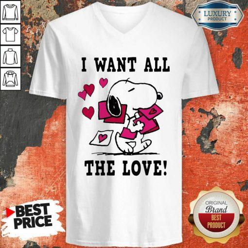 Peanuts Snoopy All The Love Valentines V-neck - Desisn By Soyatees.com